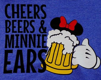 HTV Iron-On - Cheers Beers and Minnie Ears