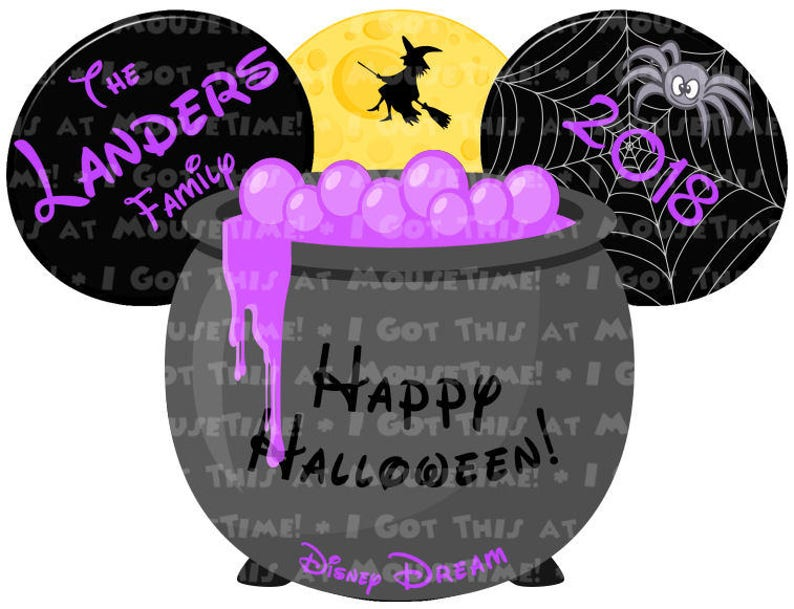 Iron-On OR Magnet Halloween Cauldron Ears 2 Color Options!