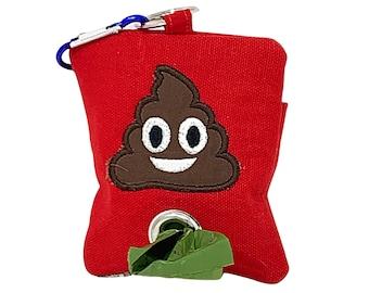 Poop Bag Holder with Poop Emoji, Dog Poo Bag Holder, Dog Walker Gift, Dog Stocking Stuffer, Dog Waste Bag Holder