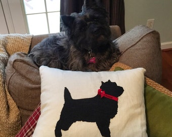 Linen cairn terrier pillow with personalized collar