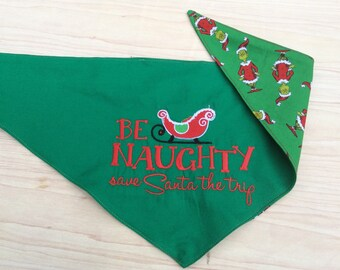 Reversible Custom Christmas dog scarf