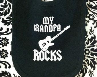 abda0b1c1 My grandpa rocks cool guitar band custom baby infant bib color choice pink  blue black white shower gift idea grandchild