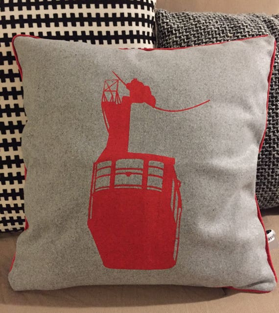 Red cable car pillow