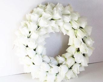 Roses Wreath Artificial Silk Flowers Wreaths Front Door Decoration White Love gift Valentine Day Table Centerpiece Summer Spring Wedding