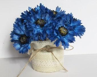 Blue Table Decor Cornflowers Decor Blue Decoration Silk Flowers Artificial Flowers Table Centerpiece Flower Arrangement