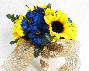 Sunflowers Wedding Bouquet Bridesmaid Bouquets Blue Cornflower Yellow Brown Burlap Ribbon Leaves Artificial Flowers Bridal Rustic Wedding