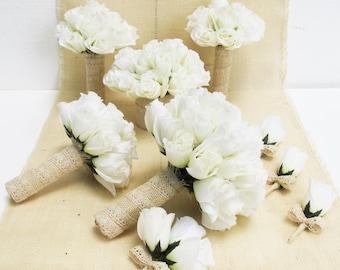 Wedding Bouquet Set 9 Pieces Set White Silk Roses Bleached Burlap Lace Bouquet Rose Flowers Bouquet Wedding Flowers Elegant Wedding Set