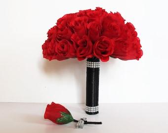 1 Wedding Bouquet With 1 Boutonniere Dark Red Roses Black Satin Ribbon Stems Shining Bridal Bouquet Silk Flowers Bouquet Wedding Flowers