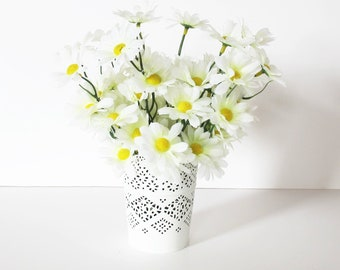 White Daisies Table Decor Silk Flowers Bouquet White Silk Flowers Wild Flowers Artificial Flower Blossoms Wedding Accessories Spring Summer