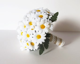 Daisies Wedding Bouquet Bridesmaid Bouquets White Lace Brown Jute Green Leaves Artificial Field Flowers Bridal Country Rustic Wedding