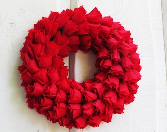Red Roses Wreath Artificial Silk Flowers Wreaths Front Door Decoration Red Love gift Valentine Day Table Centerpiece Summer Spring Wedding