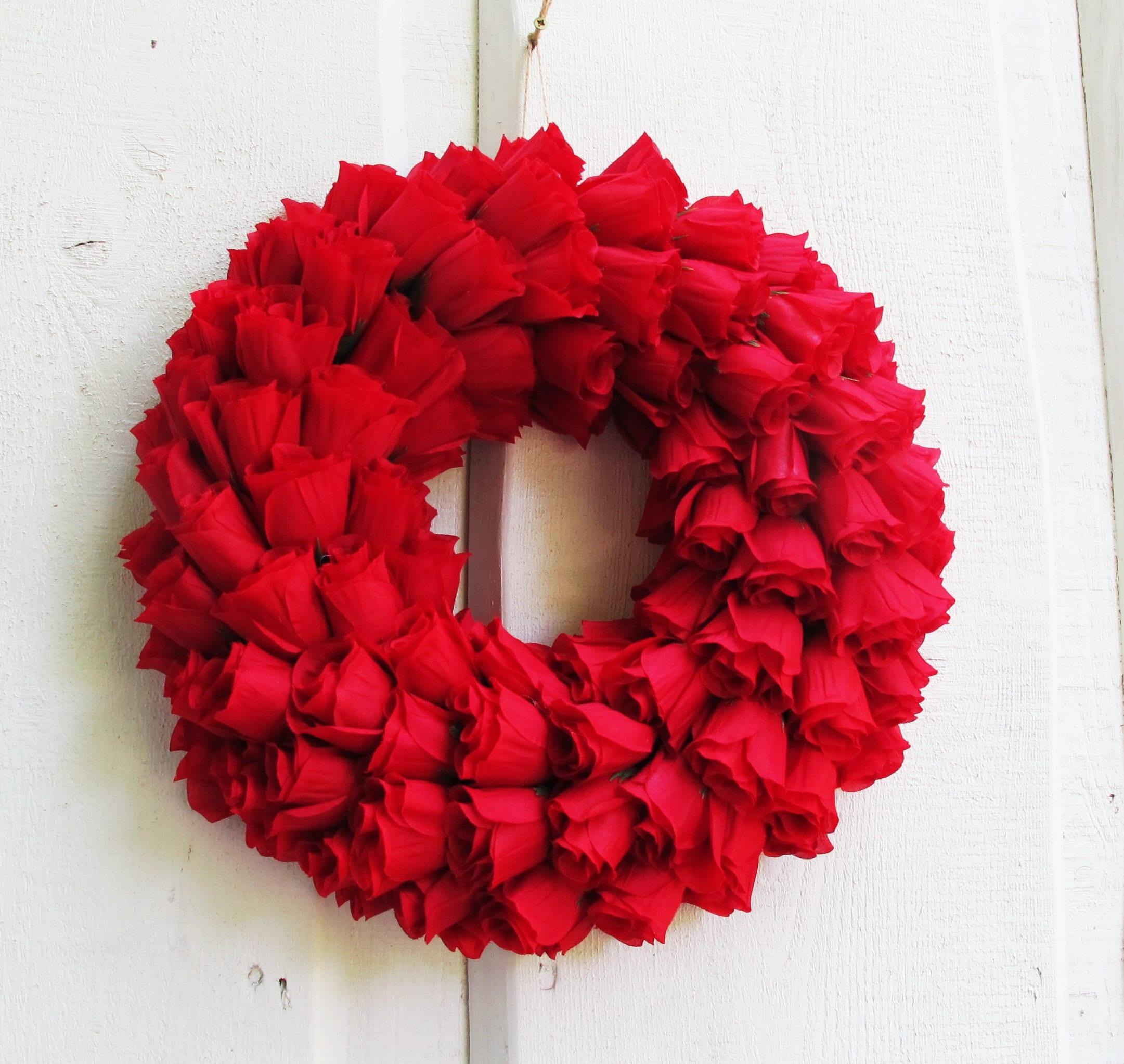 Rote Rosen Kranz künstliche Seide Blumen Kränze Haustür | Etsy