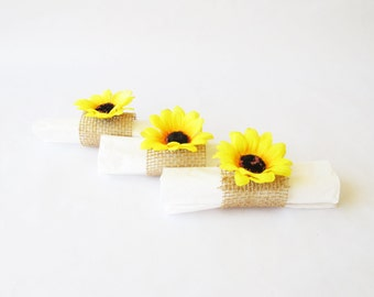 15 Napkin Rings Yellow Sunflowers Brown Burlap Wedding Party Napkins Ring Wedding Table Decor Paper Napkin Holders Birthday Party Holiday