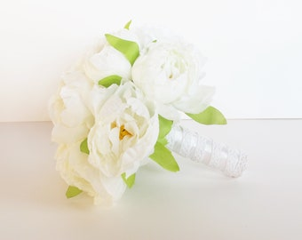 White Silk Peonies Bouquet White Green Artificial Silk Peony Bouquets Satin Luxury Bridal Flower Bouquets Silk Blossoms Wedding Accessories