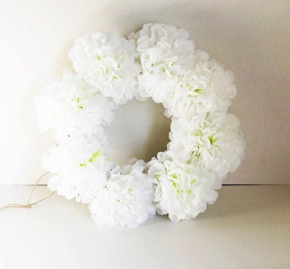 White Flowers Wreath Silk Chrysanthemum Artificial Flower Jute Etsy