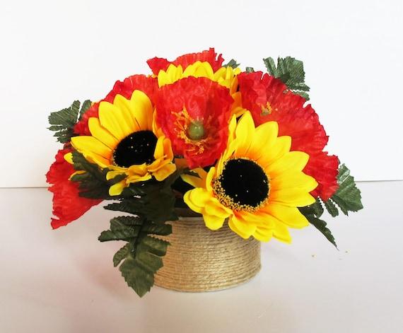 Sonnenblumen Und Mohn Tisch Dekor Gelb Rot Grün Dekoration   Etsy