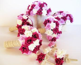 Mini Roses Wedding Bouquet Set 9 Pieces Set Silk Roses Bleached Burlap Lace Bouquet Rose Flowers Bouquet Wedding Flowers Elegant Wedding Set