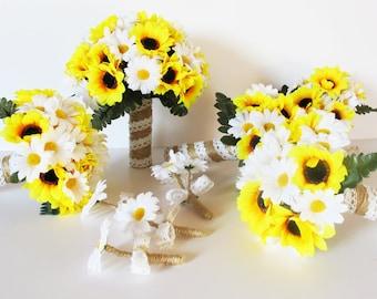 Wedding Bouquet Set 9 Pieces Set Yellow Silk Sunflowers White Daisies Leaves Jute Lace Bouquet Field Flowers Bouquet Wedding Flowers