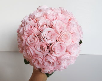 Pink Roses Bouquet Wedding Bouquet Soft Pink Silk Roses White Satin Ribbon Stems Bridal Bouquet Wedding Flowers Wedding Bride Bouquet