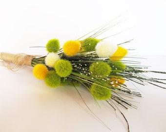 Sedge Bouquet White Green Yellow Flowers Bouquets Wedding Bouquet Jute Rustic Country Sedges