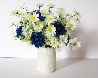 Daisies and Cornflowers Table Decor Silk Flowers Bouquet Blue White Wild Flowers Artificial Flower Blossoms Wedding Accessories Spring