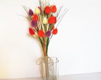 Colorful Sedge Bouquet White Orange Purple Red Flowers Bouquet Wedding Bouquet Jute Rustic Country Sedges