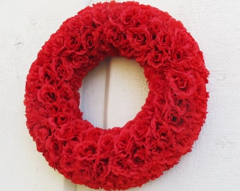 GRAND SALE Roses Wreath Artificial Silk Flowers Wreaths Front Door Decoration Red Love gift Valentine Day Table Centerpiece Summer Wedding