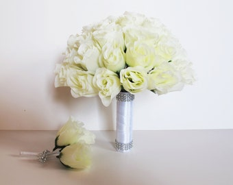 1 Wedding Bouquet With 1 Boutonniere White Roses White Satin Ribbon Stems Shining Bridal Bouquet Silk Flowers Bouquet Wedding Flowers