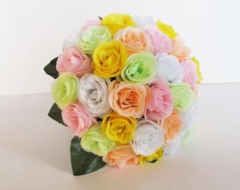 Colorful Bouquet Silk Roses Bouquet Wedding Bouquet White Yellow Pink White Satin Ribbon Stems Bridal Bouquet Wedding Flowers Wedding