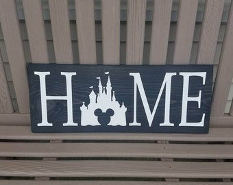 Disney Home Sign, Disney Sign, Home Decor, Handmade Wooden Sign, Rustic Decor, Mickey Ears, Disney Lover, Disney Decor