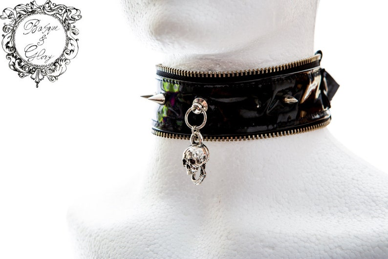 f9d9068f861 Black Gothic Punk grunge PVC Spiked choker with a skull