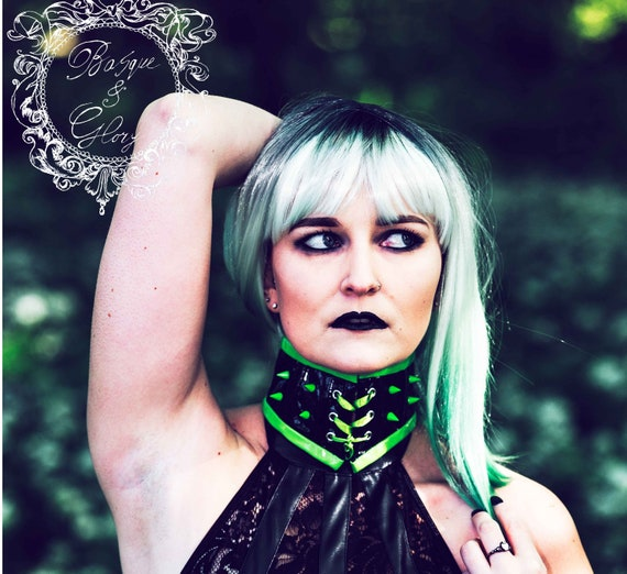 9318389980 PVC Neon green Spiked Cyber fetish Punk goth rave Neck Corset