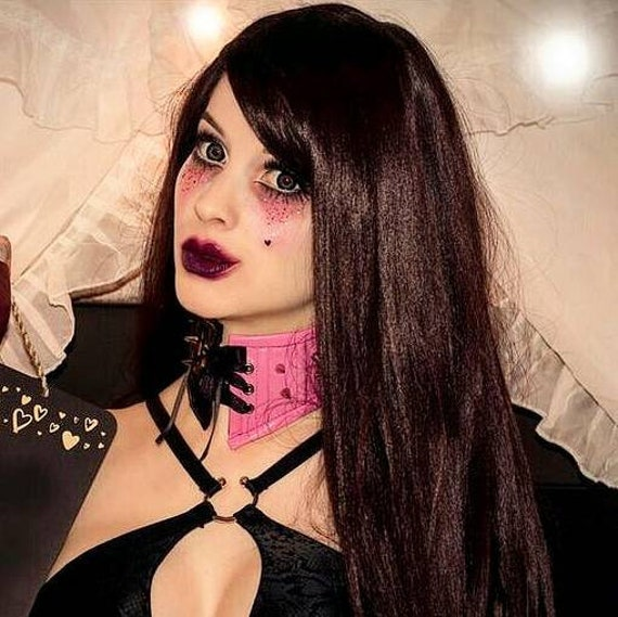 Lace Spiked Collar Neck Corset Cosplay Set