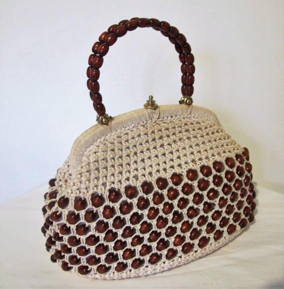 BAG, Genuine 1950s - 1960s VINTAGE, Beige Crochet,