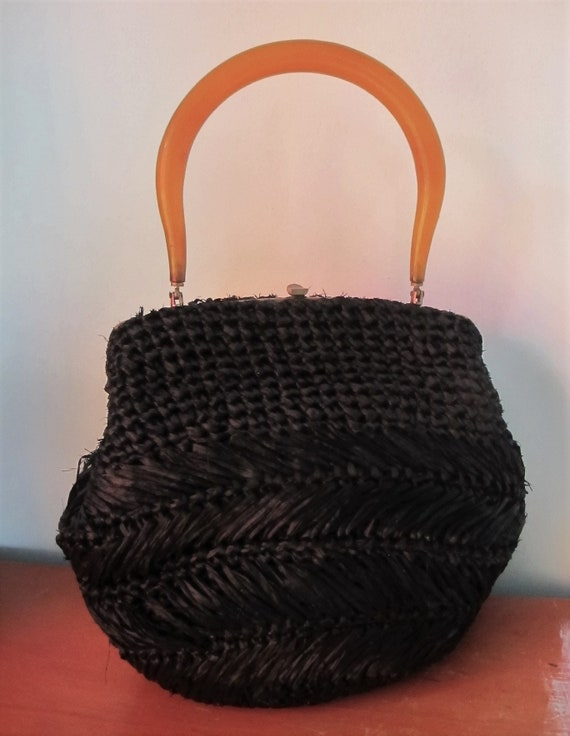 BAG Black Woven STRAW Amber LUCITE top handle Hand