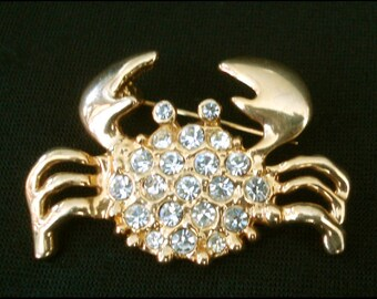 June July Zodiac Cancer Sign Crab Pin Brooch - Rhinestones in Goldtone Setting - Ready to Wear!