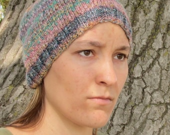 Handspun Handknit Multicolored Pink/Purple/Blue/Gold Hat with Aqua Design.