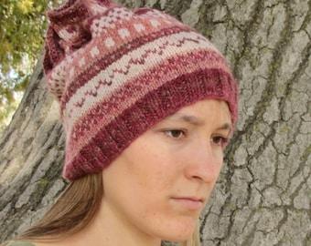 Handspun Handknit Cowl/Hat. Slouchy Wool Hat. Pink/White/Red/Brown Design. OOAK.