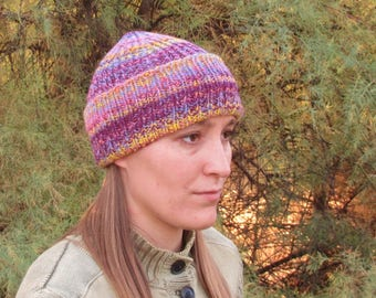 Handspun, Handknit Wool Hat. Fishermans Cap. Kid Size. Purples, Pinks, Yellows. Watchmans Hat. OOAK.