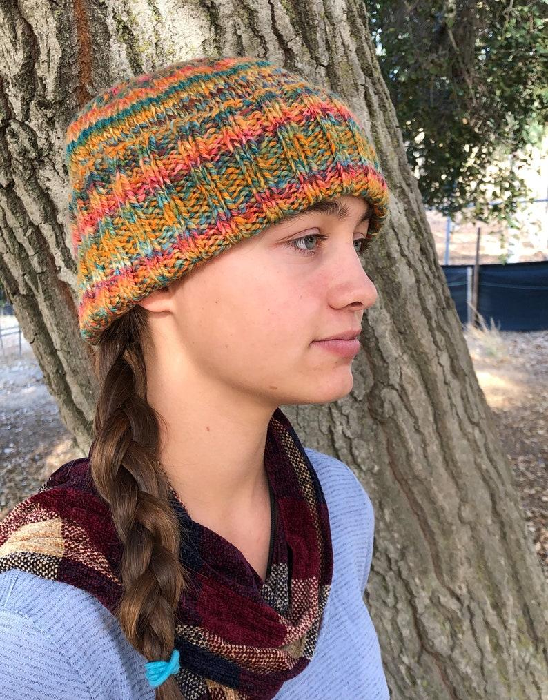Handspun OOAK GreenOrange Harvest Ribbed Cap Soft Beanie Cap Handknit Wool Hat