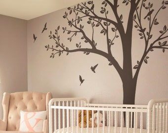 Tree wall Decal Huge Tree wall decal Nursery Tree and Birds Nature Wall Mural Stickers Wall Decals Decor Wall Art Tattoo