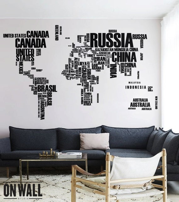 World map wall decal with country names removable vinyl map etsy gumiabroncs Image collections