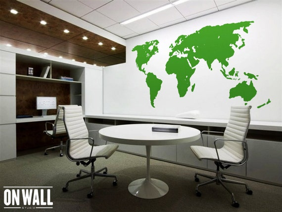 Large Vinyl wall World map decal Removable World map mural  wall sticker WM001