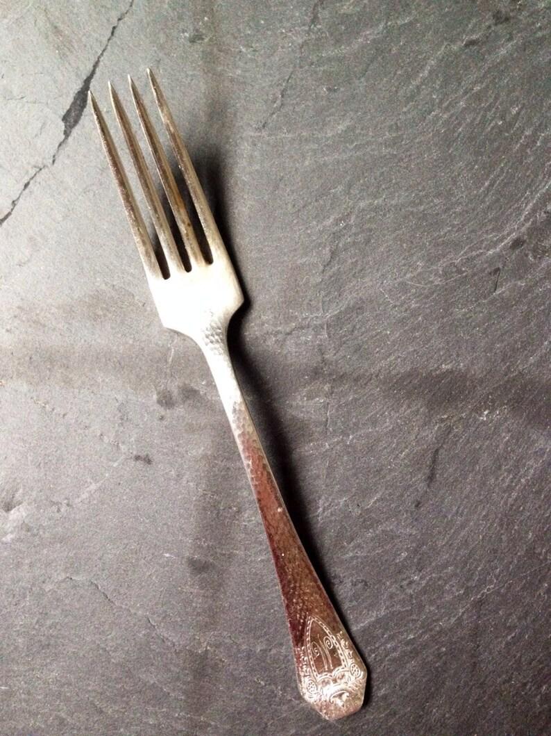 Heraldic Silverplate Dinner Fork by 1847 Rogers Bros Antique 1916