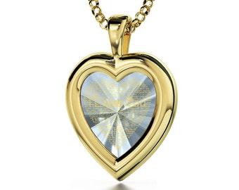 Vergoldete Herzkette Ich Liebe Dich Graviert in 120 Sprachen mit 24k auf  16mm Zirkonia Anhänger, 45cm Gold-filled Kette 9e3a9b709e