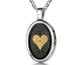 Ich Liebe Dich Halskette Graviert in 120 Sprachen mit 24k auf 15x21mm Onyx  Anhänger, 45cm Sterling Silber Kette 1a7a9d9f42