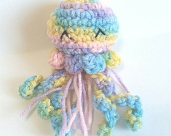Crochet Mini Jellyfish, Mini Amigurumi Jellyfish, Rainbow, Jellyfish Plushie, Jellyfish Plush, Kawaii Jellyfish, Cute Jellyfish Gift, Small