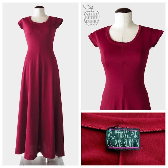 Vintage 1970s Merlot Minx Tee Shirt Maxi Dress - S