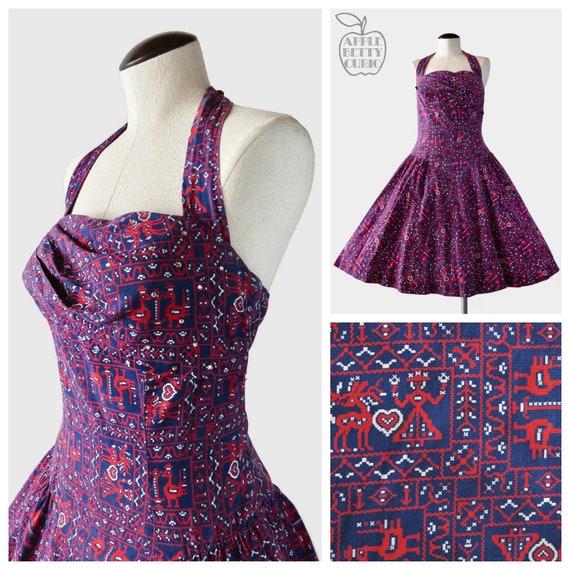 Vintage 1950s Bahía Sol Shelf Bust Halter Dress -