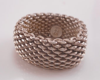 Vintage Sterling Silver 10 mm Woven Mesh Ring Size 9 ,Chain Mesh Ring ,Eternity Ring